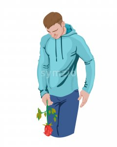 Man holding a rose in his hand. Sport clothes. Colorful. Vector Stock Vector