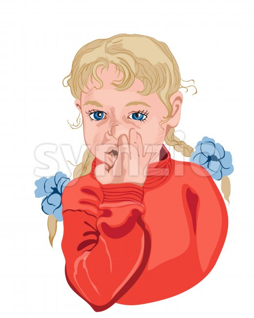 Little girl picking her nose. Blond hair. Colorful vector