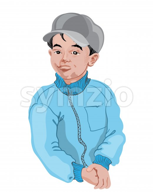 Young boy in white shirt posing. Black hair. Drawing. Vector Stock Vector