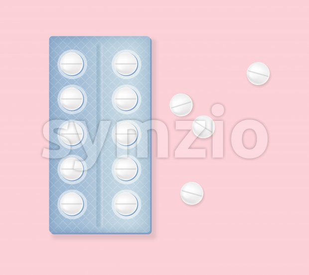 Menstrual cycle pills in blister on rose background. Vector Stock Vector