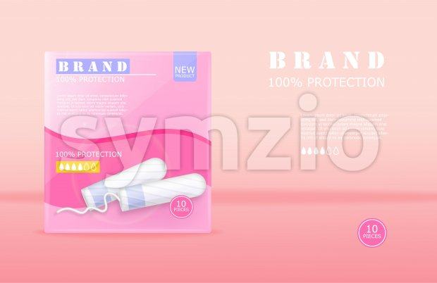Menstrual cycle sanitary tampons advertisement package with place for brand. Vector Stock Vector