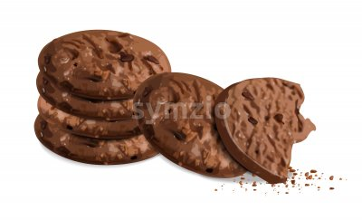 Crunchy chocolate cookies isolated vector realistic. 3d detailed dessert Stock Vector
