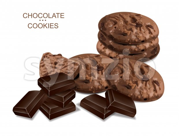Chocolate cookies isolated vector realistic. 3d detailed dessert
