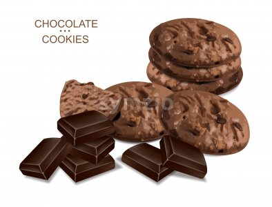 Chocolate cookies isolated vector realistic. 3d detailed dessert Stock Vector