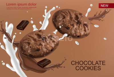 Chocolate cookies vector realistic mock up. Declious dessert chocolate and milk splash. 3d detailed chocolate Stock Vector