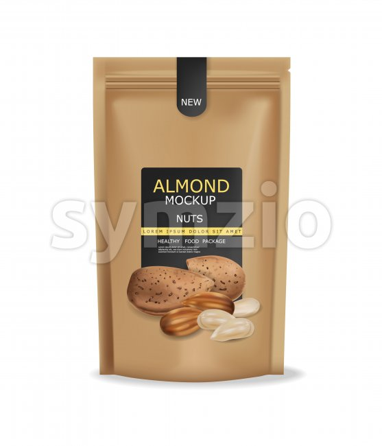 Almond nuts isolated vector realistic mock up. Raw vegan delicious snack. 3d detailed design product package Stock Vector