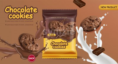 Chocolate cookies vector realistic mock up. Declious dessert falling cookies with chocolate and milk splash. 3d detailed product package Stock Vector