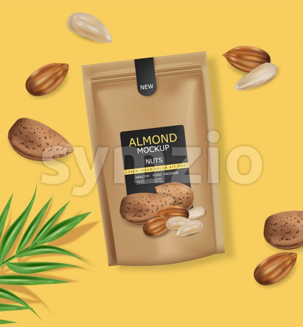 Almond nuts vector realistic mock up. Raw vegan delicious snack. 3d detailed design product package Stock Vector