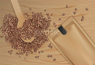 Buckwheat spread vector realistic top view. Product packaging design. Detailed grains on wooden spoon. 3d illustration Stock Vector