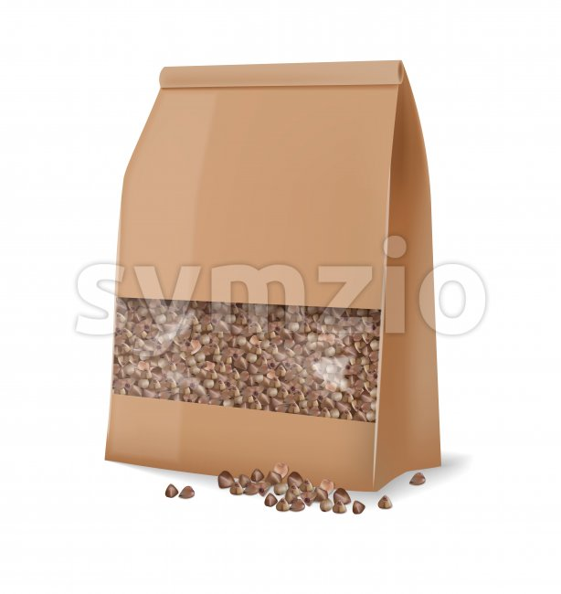 Buckwheat package isolated vector realistic. 3d detailed product package placement