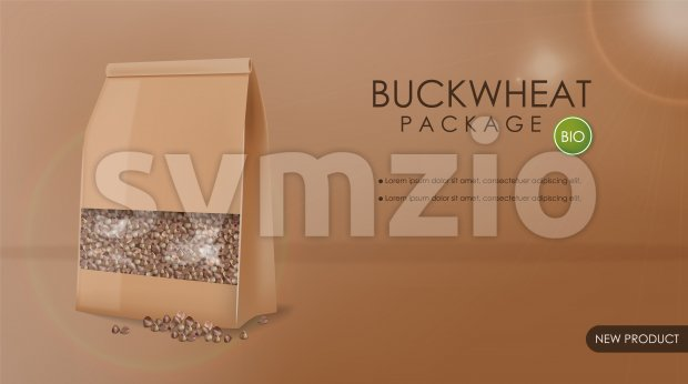 Buckwheat package vector realistic mock up. 3d detailed product placement. Advertise label design Stock Vector