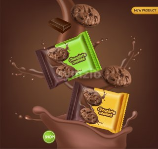 Chocolate cookies vector realistic mock up. Declious dessert falling cookies with chocolate splash. 3d detailed product package. label design poster Stock Vector