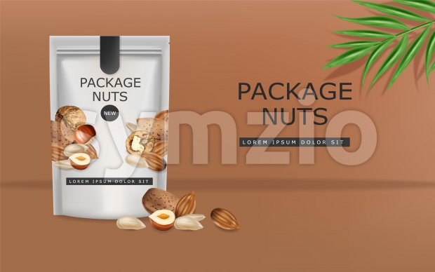 Nuts vector realistic mock up. Greek walnuts, almonds and hazelnuts. 3d detailed design product package Stock Vector