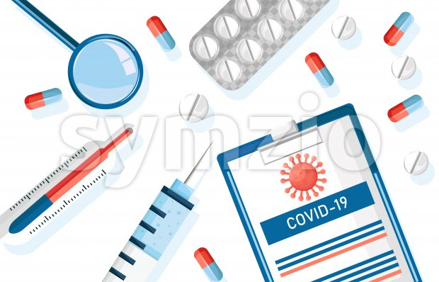 Corona Virus medicine drugs set with pills, injections and paper clipboard with statistics. Vector Stock Vector