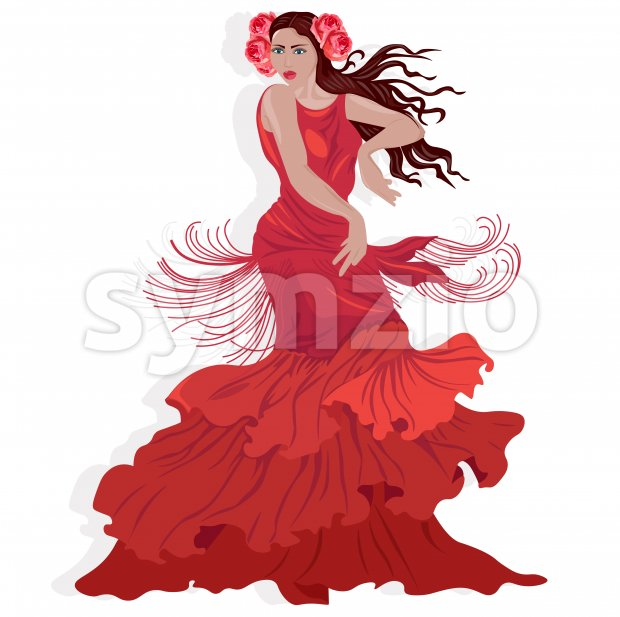 Beautiful lady in red dress with rose flowers in hair dancing oriental moves. Vector Stock Vector
