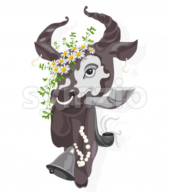 Elegant cow with camomile flowers in the head smoking a pipe. Vector Stock Vector