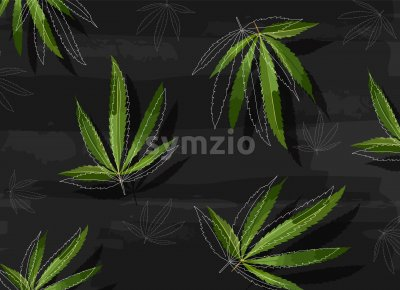 Marijuana leaves in line art style on black structured background. Vector Stock Vector