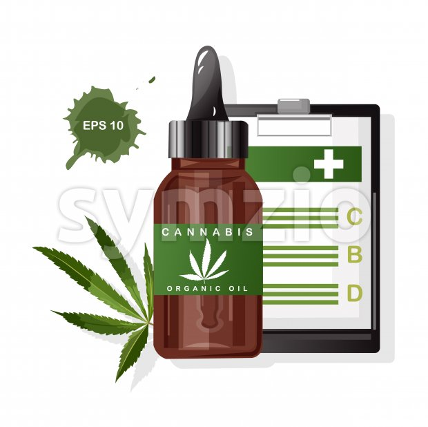 Cannabis organic oil with marijuana leaves. CBD benefits on paper clipboard. Vector Stock Vector