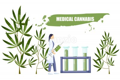 Woman in laboratory making a research on cannabis with big syringe and chemistry tube with cbd extract. Vector Stock Vector