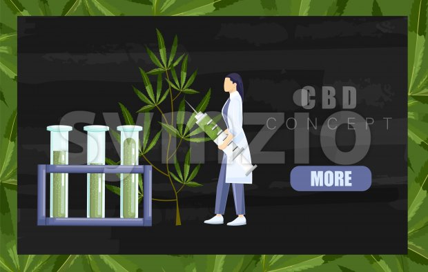 Woman in laboratory making a research on cannabis with big syringe and chemistry tube with cbd extract. Black background Vector Stock Vector