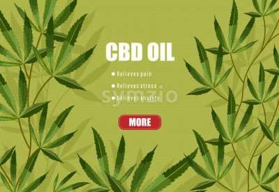 CBD oil list of benefits on green background. Relieves pain, stress and anxiety. Vector Stock Vector