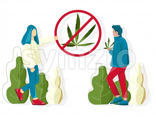 People fighting against cannabis usage in public places. Vector