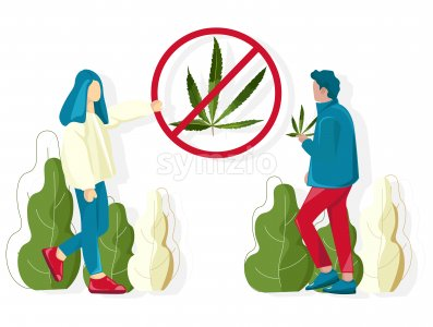 People fighting against cannabis usage in public places. Vector Stock Vector