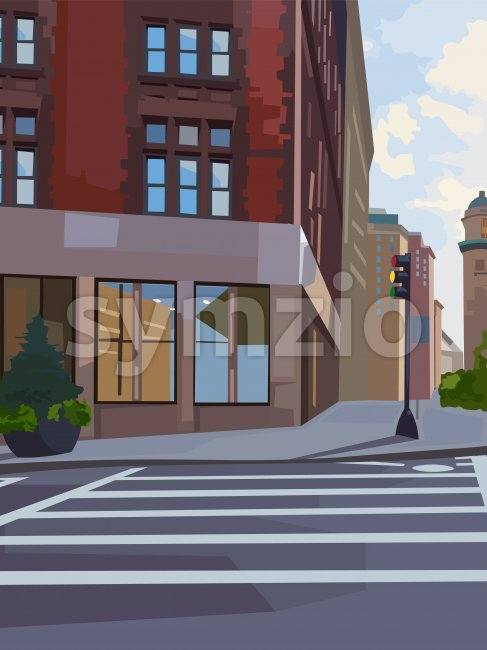 City intersection composition with traffic light and pedestrian crosswalk. Vector Stock Vector