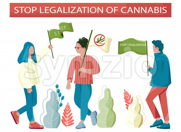 People protesting against legalization of cannabis. Holding flags and posters. Vector