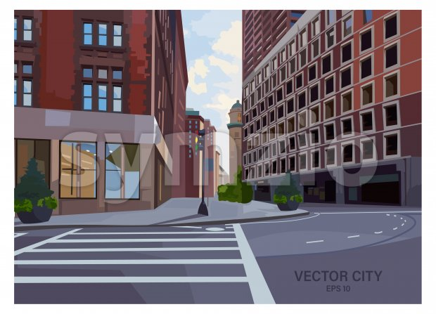 City intersection composition with traffic light and pedestrian crosswalk. Modern buildings at sunset. Vector