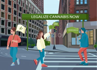 People protesting for legalizing cannabis on the street. Holding green flags. Vector Stock Vector