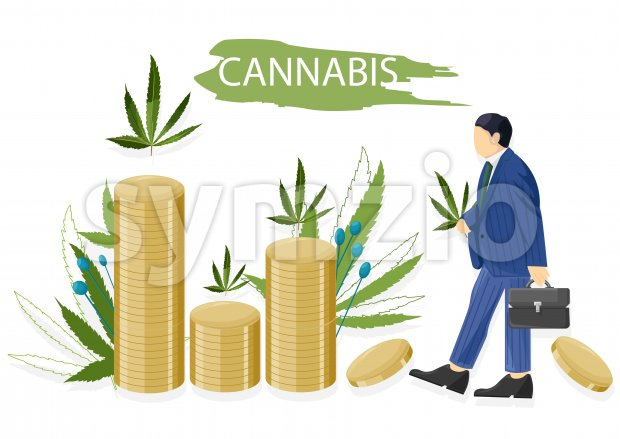Businessman in blue clothes making money selling cannabis leaves. Vector
