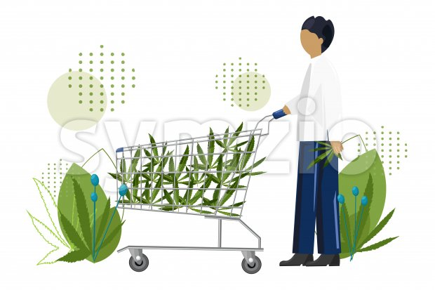 Young man shopping cannabis leaves in a trolley cart. Vector