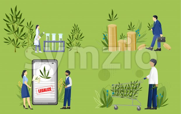 Set of people in cannabis industry. Business man, people protesting, doctor making a research in laboratory, man buying in market with trolley. Vector Stock Vector