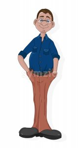 Cartoon mature man with glasses in blue shirt and pants. Vector Stock Vector