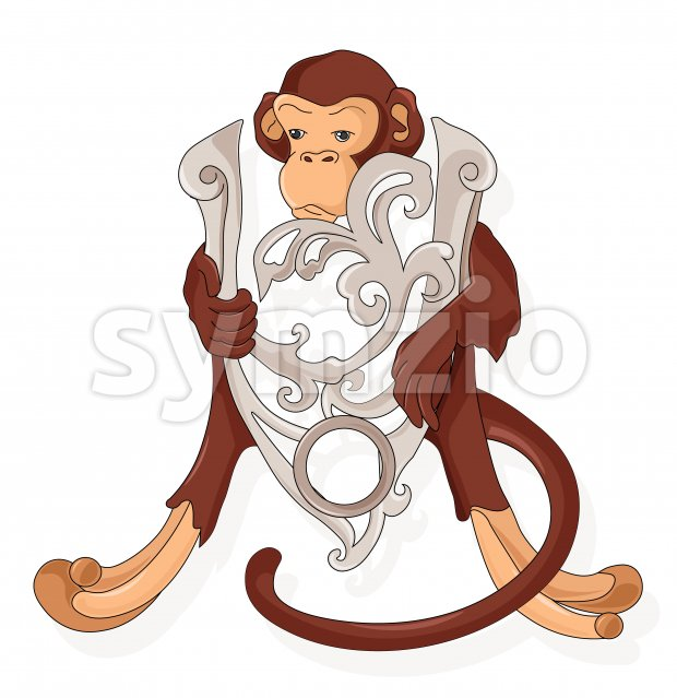 Abstract monkey wall decoration with silver shield. Vector Stock Vector