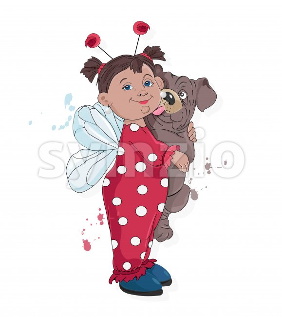 Little kid in ladybug clothes holding pug dog licking her. Vector Stock Vector