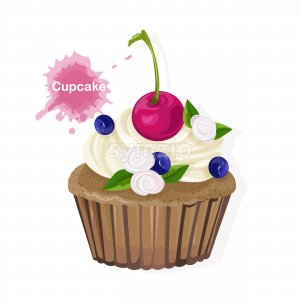 Brown cupcake with white cream ornaments, cherry, blueberries and flowers. Vector Stock Vector