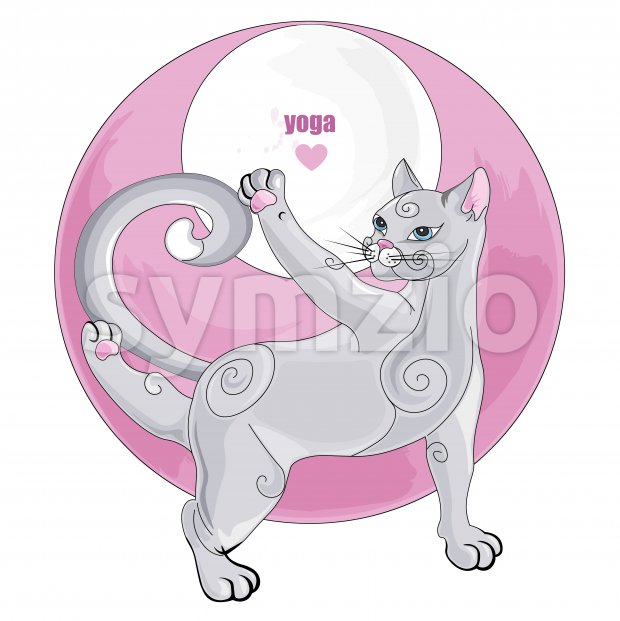 White cat meditating in yoga pose with rose abstract element on background. Vector set