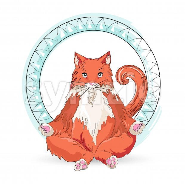 Ginger cat meditating in lotus yoga pose with blue ring around. Vector Stock Vector