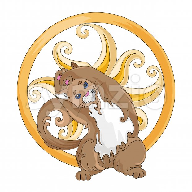 Brown cat meditating in yoga pose with golden ring around. Vector Stock Vector