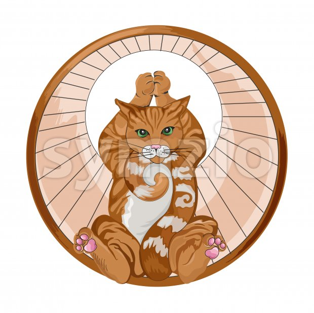 Abstract ginger cat in a spinning wheel holding a yoga pose. vector