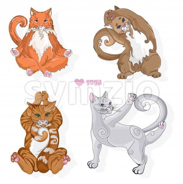 Various cat of different colors doing yoga poses. Vector set Stock Vector