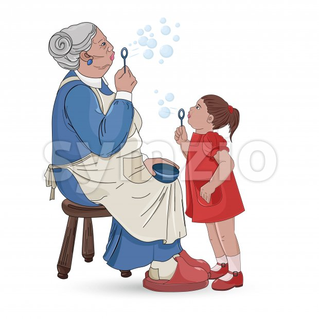 Senior grandmother with her nephew making soap bubbles. Vector Stock Vector