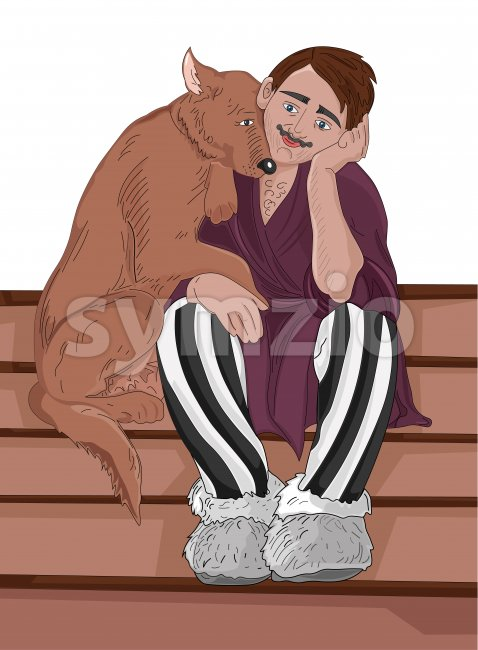 Young man in clown pants cuddling with a dog on stairs. Vector Stock Vector