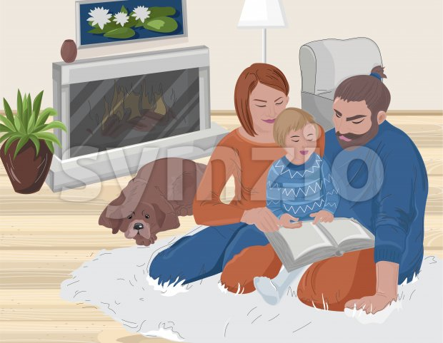 Young family reading with their kid a book. Cozy home atmosphere with sleeping dog and fireplace. Vector Stock Vector