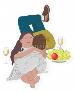 Young couple having a romantic meeting. Drinking wine with grape and apple. Laying on floor. Vector Stock Vector
