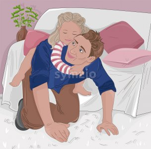 Senior woman playing with her nephew in a cozy house near sofa. Vector Stock Vector