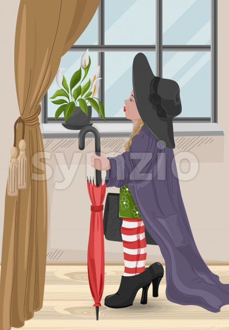 Kid girl wearing big size heels and hat pretending to be woman. Vector Stock Vector