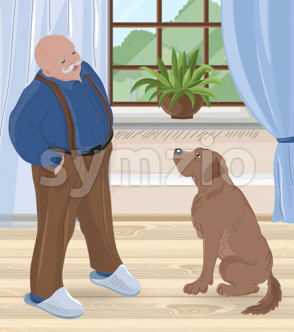 Senior bald man with mustache talking to his dog inside house. Vector Stock Vector